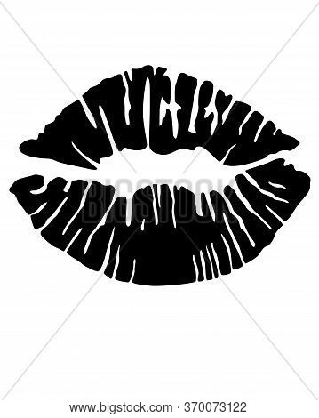 Imprint Of Painted Lips - Black Vector Silhouette Sign For Logo Or Pictogram. Women's Lips, Kiss Sil