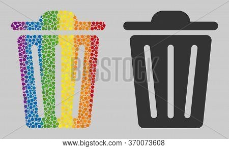 Trash Can Composition Icon Of Spheric Dots In Variable Sizes And Spectrum Colored Shades. A Dotted L