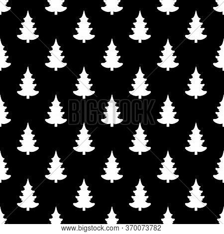 Seamless Vector. New Year Wallpaper. Christmas Tree Motif. Fir-tree Background. Pines Pattern. Holid