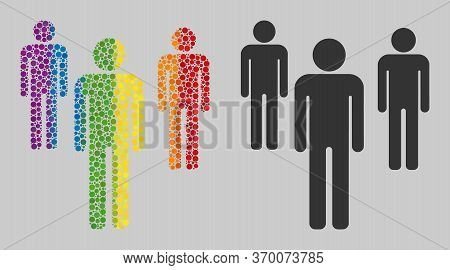 Men Figures Composition Icon Of Spheric Dots In Different Sizes And Spectrum Colored Color Hues. A D