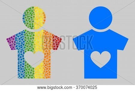 Lover Boy Composition Icon Of Filled Circles In Various Sizes And Spectrum Multicolored Color Hues.