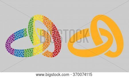 Gold Rings Composition Icon Of Round Dots In Various Sizes And Rainbow Colored Color Tones. A Dotted