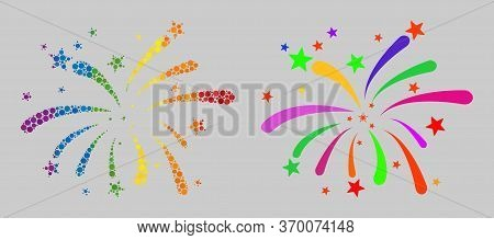 Fireworks Collage Icon Of Round Items In Various Sizes And Spectrum Colored Color Tinges. A Dotted L