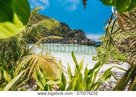 El Nido, Palawan, Philippines. Unknown Star Beach. Beautiful Shallow Ocean Lagoon And Exotic Plants