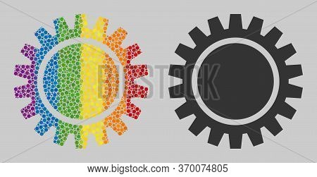 Cogwheel Composition Icon Of Circle Elements In Different Sizes And Spectrum Color Tones. A Dotted L