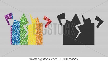 Destruction Mosaic Icon Of Circle Elements In Various Sizes And Spectrum Colored Color Tinges. A Dot