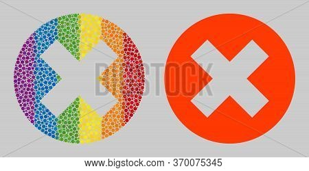 Delete Composition Icon Of Round Dots In Variable Sizes And Spectrum Colored Color Tints. A Dotted L