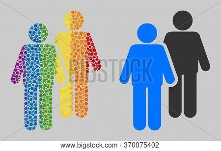 Gay Persons Couple Collage Icon Of Circle Elements In Different Sizes And Spectrum Colored Color Tin