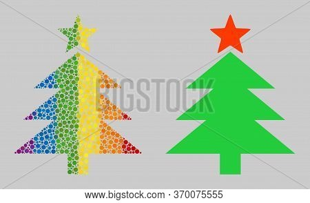 New Year Tree Mosaic Icon Of Circle Elements In Different Sizes And Spectrum Colored Color Hues. A D