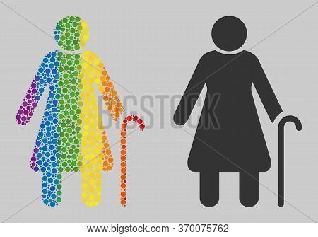 Grandmother Mosaic Icon Of Spheric Dots In Variable Sizes And Rainbow Colored Color Tinges. A Dotted