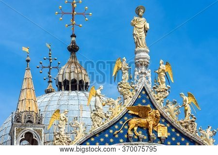 St Mark`s Basilica Or San Marco Closeup, Beautiful Rooftop On Sky Background, Venice, Italy. Medieva