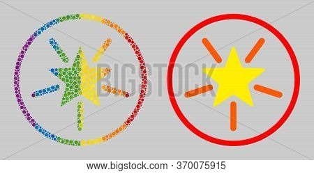 Rounded Shine Star Mosaic Icon Of Filled Circles In Different Sizes And Spectrum Colored Color Hues.