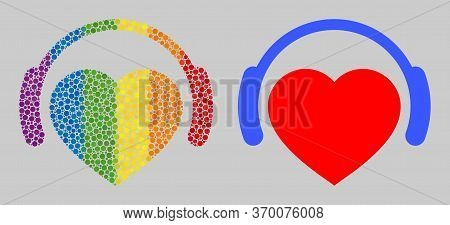 Romantic Heart Dj Composition Icon Of Filled Circles In Variable Sizes And Rainbow Colored Color Tin