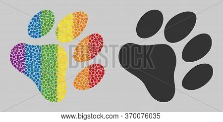 Paw Footprint Composition Icon Of Filled Circles In Variable Sizes And Rainbow Color Tinges. A Dotte