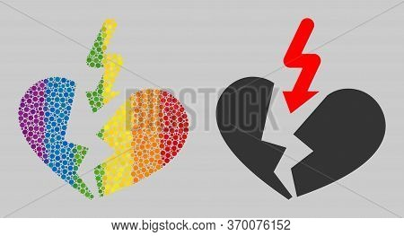 Breakup Heart Collage Icon Of Round Items In Variable Sizes And Spectrum Colorful Color Tints. A Dot