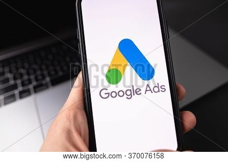 Google Ads Logo On Smartphone Screen. High Quality Photo.