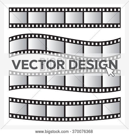 Film Roll Vector, Film 35mm, Slide Film Frame Set. Negative And Strip, Media Filmstrip