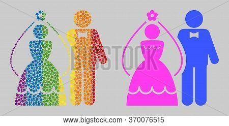 Newlyweds Composition Icon Of Circle Elements In Variable Sizes And Spectrum Colored Color Tones. A