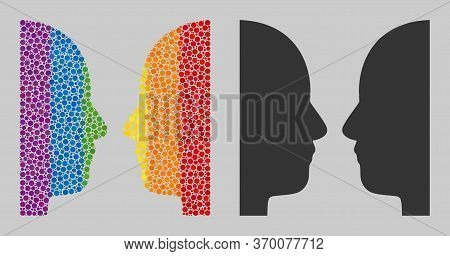 Dual Face Mosaic Icon Of Round Items In Different Sizes And Spectrum Colored Shades. A Dotted Lgbt-c
