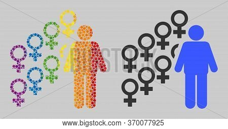 Harem Symbol Collage Icon Of Filled Circles In Different Sizes And Rainbow Colorful Color Tinges. A
