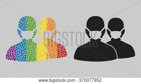 People With Masks Collage Icon Of Round Dots In Variable Sizes And Rainbow Colored Color Tinges. A D