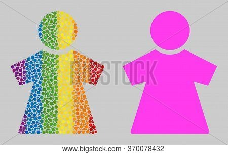 Girl Composition Icon Of Circle Spots In Various Sizes And Rainbow Colored Color Tones. A Dotted Lgb