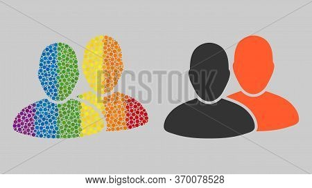 Users Collage Icon Of Filled Circles In Variable Sizes And Spectrum Color Hues. A Dotted Lgbt-colore