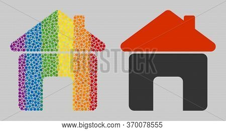 House Composition Icon Of Round Dots In Different Sizes And Rainbow Colored Color Tones. A Dotted Lg