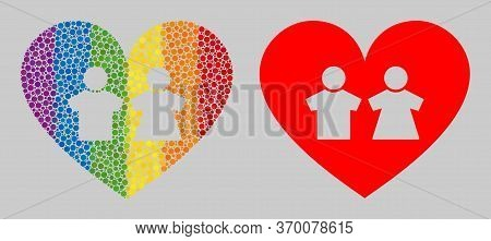 Romantic Heart Composition Icon Of Round Dots In Various Sizes And Rainbow Bright Shades. A Dotted L