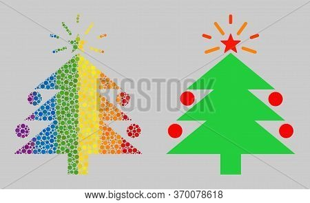 Christmas Fir Tree Composition Icon Of Spheric Dots In Various Sizes And Rainbow Color Tones. A Dott
