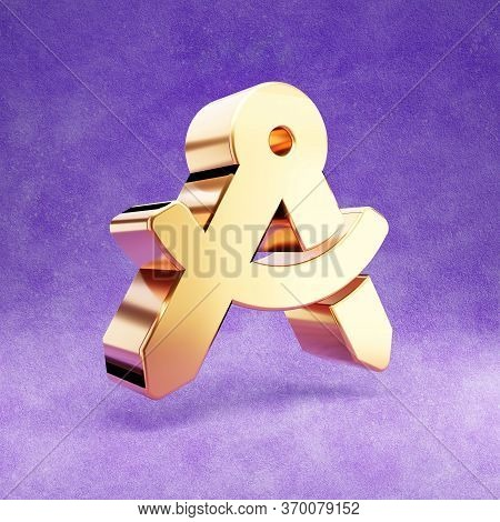 Drafting Compass Icon. Gold Glossy Drafting Compass Symbol Isolated On Violet Velvet Background. Mod