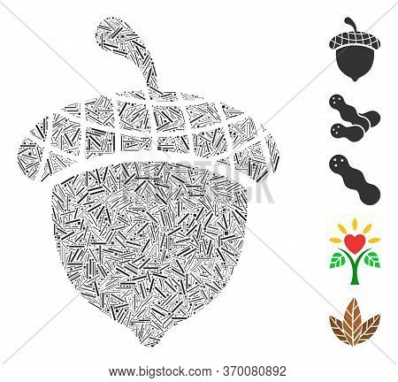 Line Mosaic Based On Acorn Icon. Mosaic Vector Acorn Is Created With Scattered Line Items. Bonus Ico