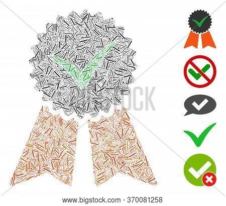 Line Mosaic Based On Approvement Seal Icon. Mosaic Vector Approvement Seal Is Designed With Randomiz