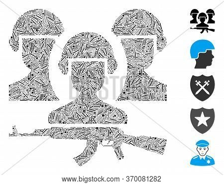 Line Collage Based On Army Icon. Mosaic Vector Army Is Formed With Scattered Line Elements. Bonus Ic