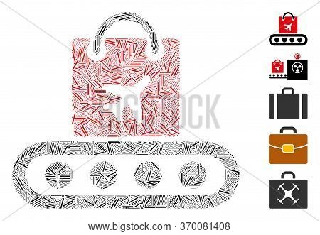 Dash Mosaic Based On Baggage Conveyor Icon. Mosaic Vector Baggage Conveyor Is Composed With Randomiz