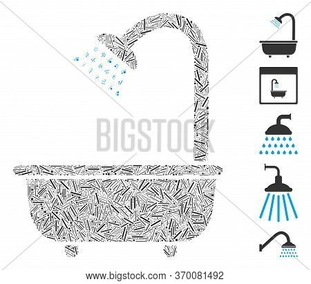 Dash Mosaic Based On Bath Shower Icon. Mosaic Vector Bath Shower Is Created With Scattered Line Spot