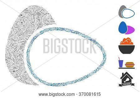 Line Mosaic Based On Boiled Eggs Icon. Mosaic Vector Boiled Eggs Is Formed With Scattered Line Items