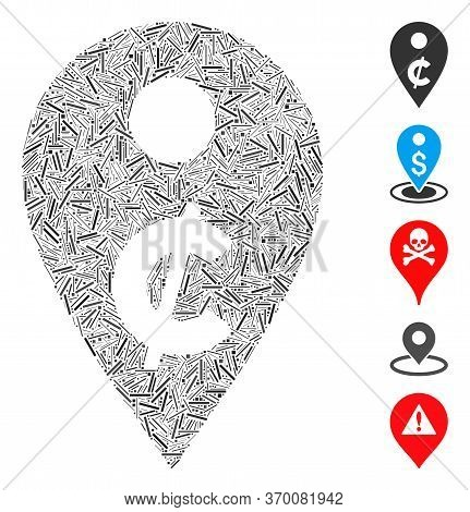 Hatch Mosaic Based On Cent Map Marker Icon. Mosaic Vector Cent Map Marker Is Formed With Scattered H
