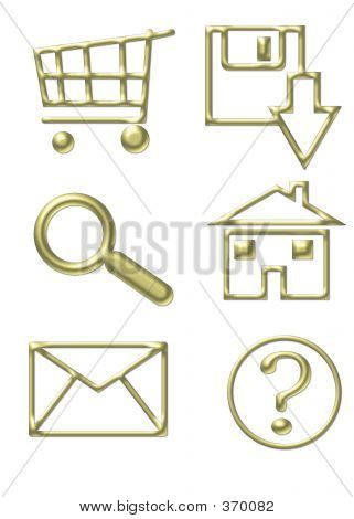 Gold Website Icons - Shopping Cart, Email, Home, Download, Magnify Glass, Questions