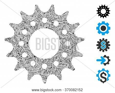 Line Mosaic Based On Cog Icon. Mosaic Vector Cog Is Designed With Random Line Spots. Bonus Icons Are