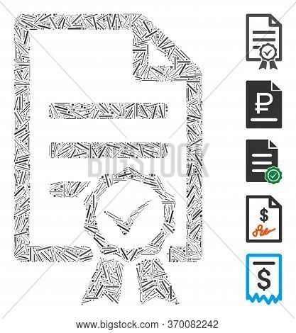 Hatch Mosaic Based On Contract Document Icon. Mosaic Vector Contract Document Is Designed With Rando
