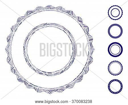 Hatch Mosaic Based On Double Rosette Circular Frame Icon. Mosaic Vector Double Rosette Circular Fram