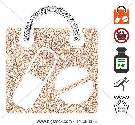 Dash Mosaic Based On Drugs Shopping Bag Icon. Mosaic Vector Drugs Shopping Bag Is Formed With Scatte