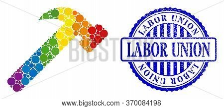 Hammer Tool Composition Icon Of Round Dots In Different Sizes And Rainbow Color Shades. Blue Round R