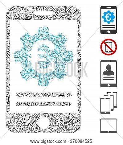Hatch Mosaic Based On Euro Mobile Banking Configuration Icon. Mosaic Vector Euro Mobile Banking Conf
