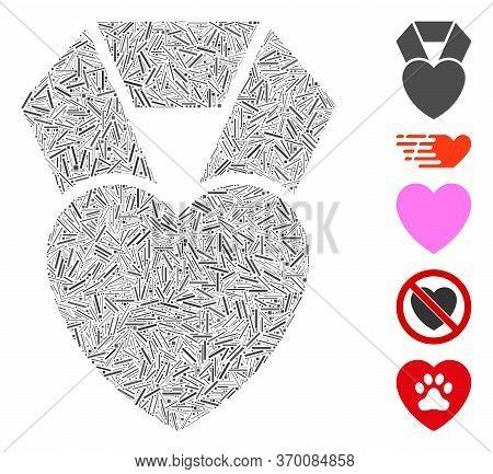 Dash Mosaic Based On Favorite Heart Award Icon. Mosaic Vector Favorite Heart Award Is Formed With Sc