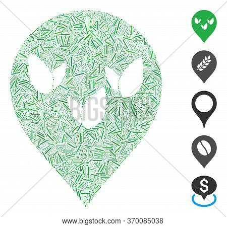 Dash Mosaic Based On Flora Field Marker Icon. Mosaic Vector Flora Field Marker Is Composed With Rand