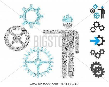Hatch Mosaic Based On Gears Mechanics Presentation Icon. Mosaic Vector Gears Mechanics Presentation