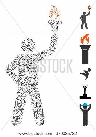 Hatch Mosaic Based On Leader With Freedom Torch Icon. Mosaic Vector Leader With Freedom Torch Is For