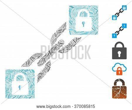Dash Mosaic Based On Lock Blockchain Icon. Mosaic Vector Lock Blockchain Is Formed With Random Dash